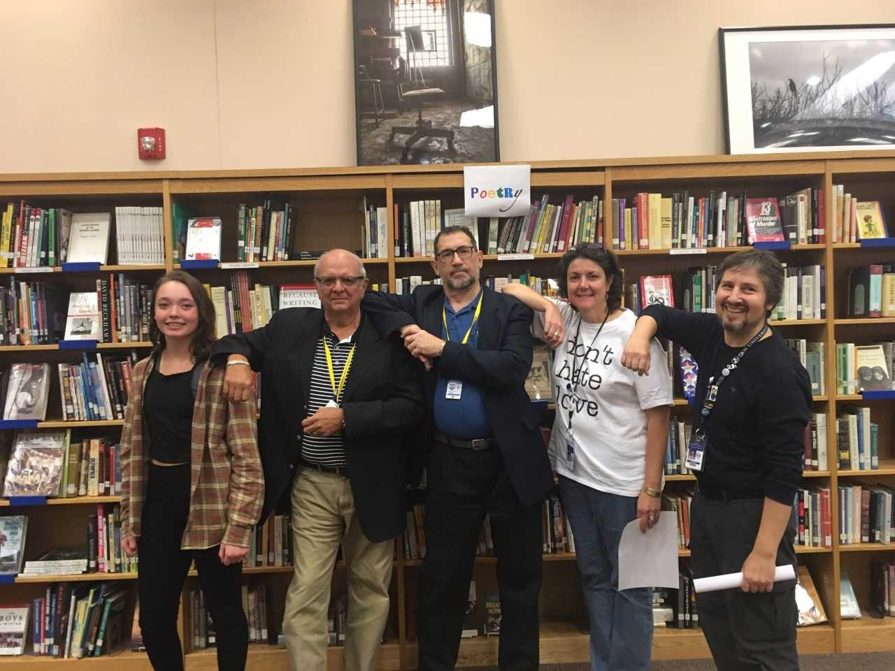 """""""Come to the slam - even if you decide not to read out loud, """" said Librarian Maggie Devine. """"I promise you will be energized by the poems and voices of others.  This may be enough to give you the courage to read and if not, you can certainly read the next time!"""" (Photo by Kirsten Dorman)"""