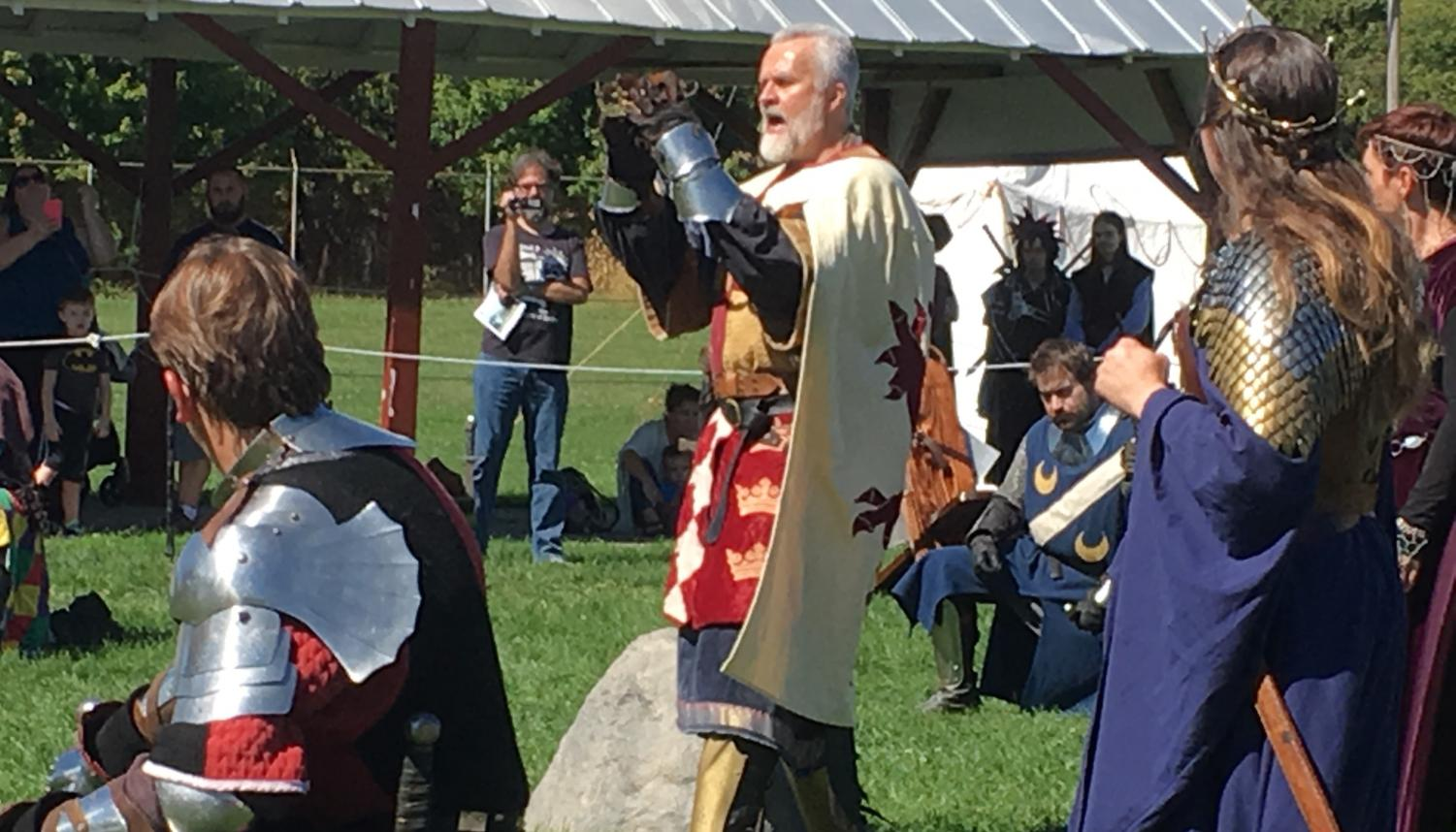 King Arthur makes a proclamation to the Saxon King Hengust for a tournament to decide who shall be King of Camelot. The Knights of the Round Table, Queen Guinevere, and others listen to the most noble Arthur as he fights for peace.    (Photo by Caila Grigoletti)