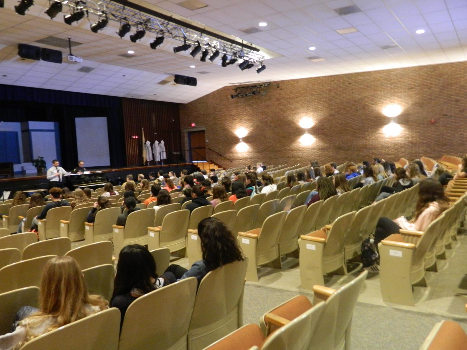 Principal Christopher Kavcak speaking at a security forum in response to student protest. (Photo by Kirsten Dorman)