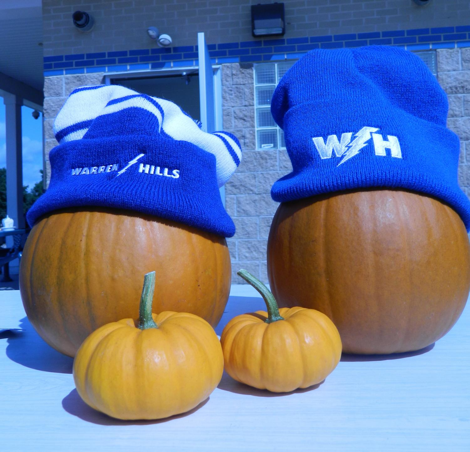 Pumpkins displayed beanies for sale. (Photo by Emily Deming and Hannah DeVoe)