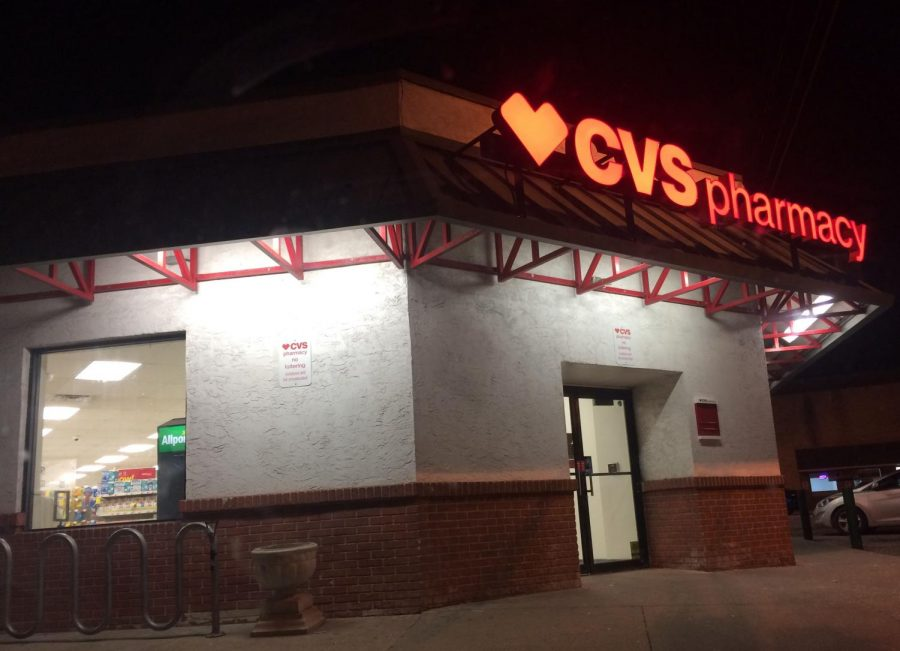 CVS+Pharmacy+and+Drugstore+is+currently+open+for+business%2C+offering+products+to+local+residents+and+workers+alike.+%28Photo+by+Emily+Deming%29+