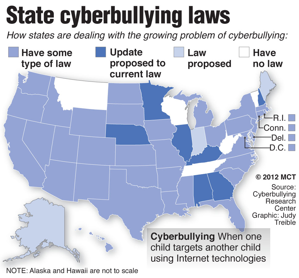 U.S. map shows the extent of state laws that deal with the growing problem of cyberbullying among children and teens. MCT 2012  With CYBERBULLYING, McClatchy Washington Bureau by Kaz Komolafe  14000000; krtnational national; krtsocial social issue; SOI; krt; mctgraphic; 14022000; abusive behavior; krtsocialissue social issue; 02006000; CLJ; CRI; krtlaw law; krtdiversity diversity; youth; bully; cell; child; computer; cyberbully; cyberbullying; harrassment; internet; komolafe; law; legislation; online; phone; state; technology; teen; texting; treible; wa; 2012; krt2012