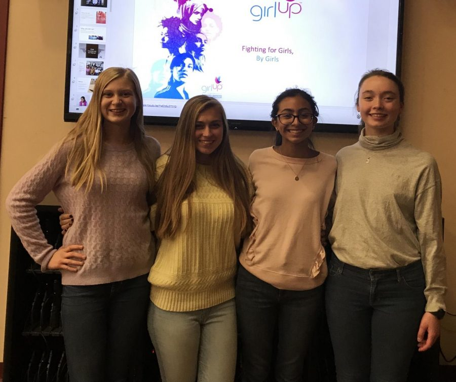 Left to right are Emily Kovacsy, Liz Schlaffer, Anna Izeppi, and Phoebe Sessler, who are part of a network of 1800 Girl Up clubs worldwide. (Photo Courtesy of Mrs. Bela Shah).