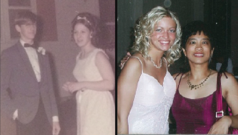 Left: Main office secretary Sherry Sarte in her 1969 junior prom (Photo courtesy of Mrs. Sarte) Right: Mrs. Giamoni posing with 2004 graduate, Ashley Chandler, during prom. (Photo courtesy of Mrs. Giamoni).
