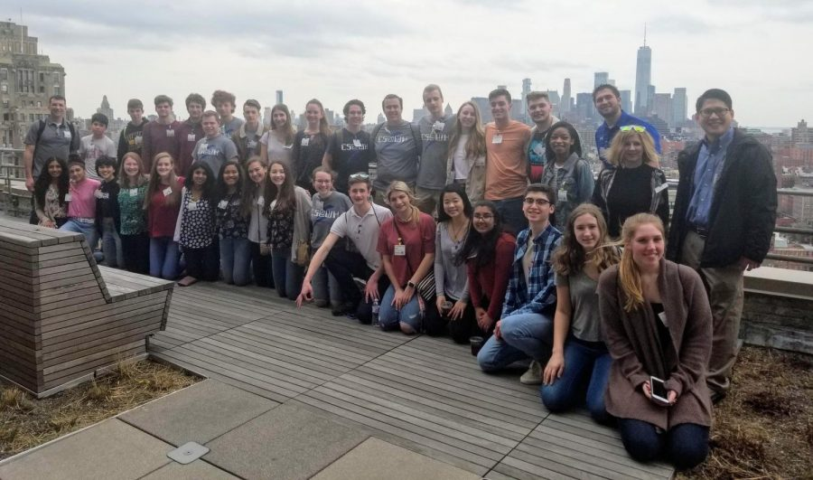 Warren Hills Computer Science students on the 14th floor balcony at Google, overlooking the New York City skyline. (Photo Courtesy of Mr. Daryl Detrick)