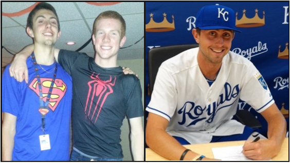 (Left) Venziano poses for a photo with basketball teammate Johnny Bamford. (Right) Veneziano signs his first professional contract in the Kansas City Royals organization.
