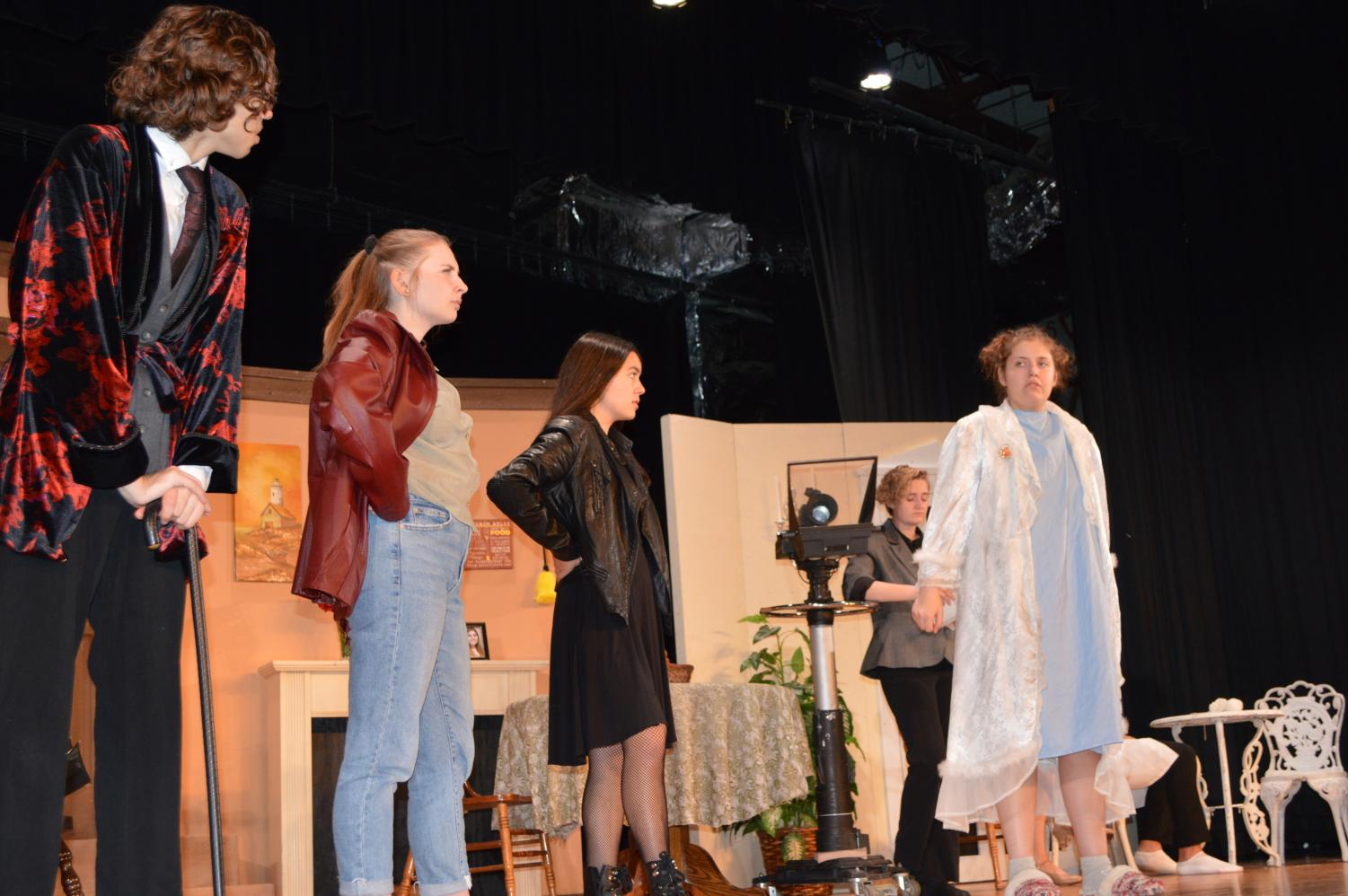 Actors (from left to right) Henry Goodnick, Emma Kaiven, Julianne Magistrado, Amy Twohig and Emily Gilligan rehearse for the Warren Hills Drama Club's upcoming show The Bold, The Young, and The Murdered. The murder mystery/comedy is set to be performed at 7 p.m. Thursday, Nov. 14, through Saturday, Nov. 16. Tickets will be available upon arrival for $8 for students and $14 for adults. (Photo courtesy of Jennifer Reid)