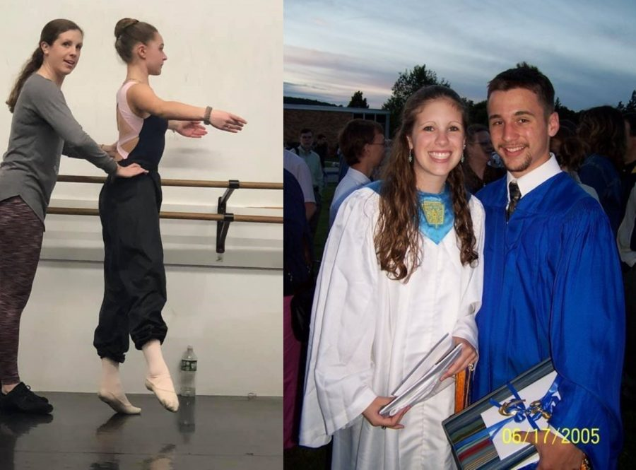 Dresser-Thorpe with her then-boyfriend and now-husband, Ryan Thorpe (right) and her instructing a ballet student (left). (Photo Courtesy of Alexandra Dresser-Thorpe)