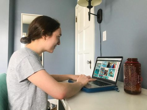 Eimear McCann, a Bexley High School junior who is one of four executive editors for the yearbook staff, works on a spread from home. (Photo courtesy of Ailbhe McCann)