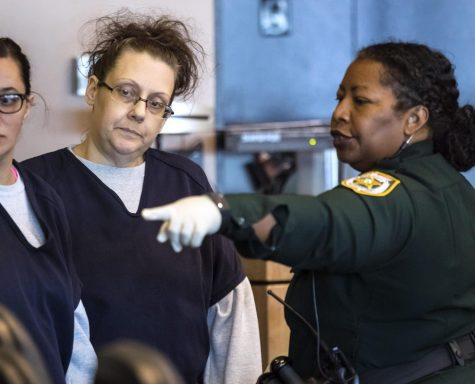 Kristen Meyer, the woman charged with first-degree murder in the starvation death of her 13-month-old daughter, Tayla Aleman, is brought into court for a pre-triall hearing Friday, February 28, 2020, before her death penalty trial set for March 13. (MCT/ LANNIS WATERS/palmbeachpost.com)
