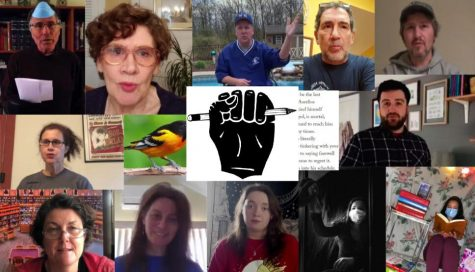 "More than a dozen poets and poetry lovers participated online May 5 in the first Virtual Poetry Slam hosted by Warren Hills Regional High School's Horizons Program. Every year, the Poetry Slam is held in the high school's Elizabeth Ames Library in May and is a chance for students and staff to share poetry with one another. Since school was closed due to COVID-19, Horizons Director and Librarian Margaret Devine hosted the Poetry Slam virtually. Students and staff video recorded themselves reading poems and sent them to Devine, who then put them together in a video and shared it with the school. ""I'm so glad that so many came together during this difficult time to rise above what we are all facing, and to take time to celebrate the spoken and written words of poetry,"" Devine said. ""Writing, like any art form, can help anyone process and make meaning of difficult times. I am glad to have provided a space for our students and staff to use their writing and voices to move forward.""  (Photo collage courtesy of Ms. Margaret Devine)"