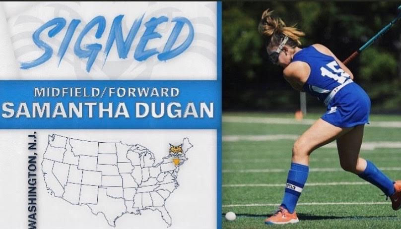 Samantha+Dugan+graduated+in+January+of+her+senior+year+and+is+playing+Division+One+Field+Hockey+at+Quinnipiac+University.+Dugan+said+she+is+especially+looking+forward+to+the+2020++fall+season.+%E2%80%9CI+graduated+early+and+started+playing+on+the+team+in+January+and+was+so+excited+to+do+so%2C%E2%80%9D+she+said.++%E2%80%9CBecause+of+the+pandemic%2C+our+spring+season+ended+early%2C+so+I+am+really+looking+forward+to+our+games+this+fall+and+for+road+trips+with+the+team.%E2%80%9D+