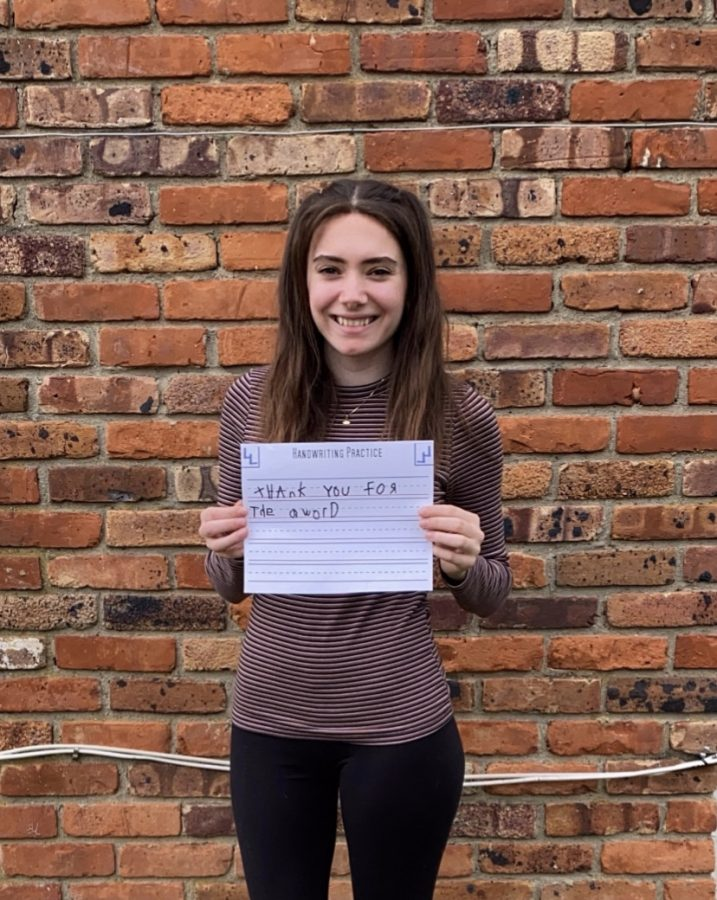 Ava Johnston won Best Handwriting for girls.