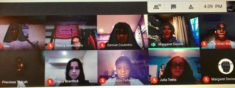 Students in Horizons participate in the WHAM competition through Google Meet.