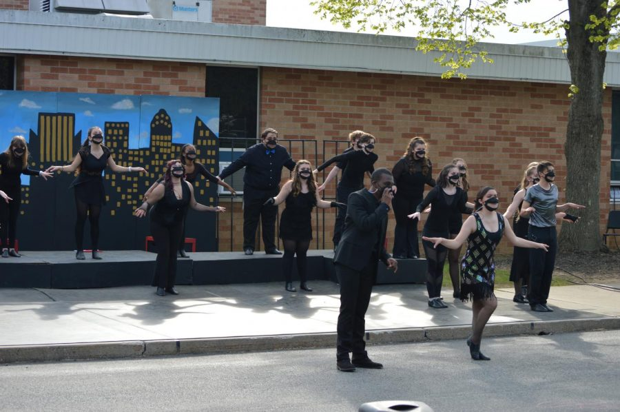 """Warren Hills Drama Club rehearses numbers such as """"All That Jazz"""" and """"Razzle Dazzle"""" for its spring musical, Chicago, during a full dress rehearsal in anticipation of the show that was performed April 29 to May 1. Over the three performances more than 400 people attended."""